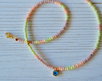 Evil Eye Seed Bead Choker, Boho Necklace, Summer Necklace, Boho Jewelry, Beach Jewelry, Summer Jewelry
