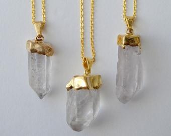 Clear Quartz Crystal Necklace (Gold)