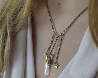 Celestial Quartz Necklace - Moon, Stars, Crystal