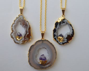 Agate Slice + Amethyst Necklace - Gold Filled