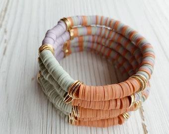 Disc Bead Bracelet, Heishi Bead Bracelet, Gift for Her, Summer Bracelet, Boho Bracelet, Beach Bracelet