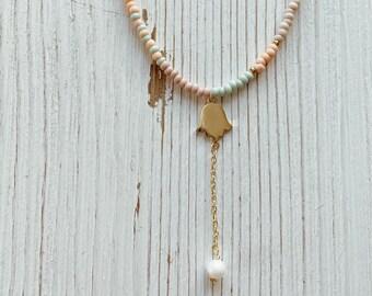 Boho Hamsa Pearl Choker, Seed Bead Boho Necklace, Summer Necklace, Boho Jewelry, Beach Jewelry, Beach Necklace