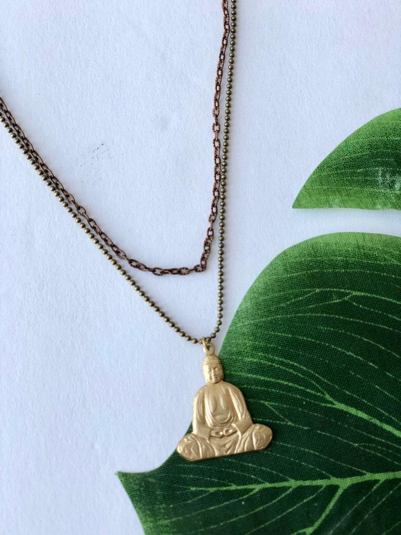 Brass Buddha Layered Necklace image 0