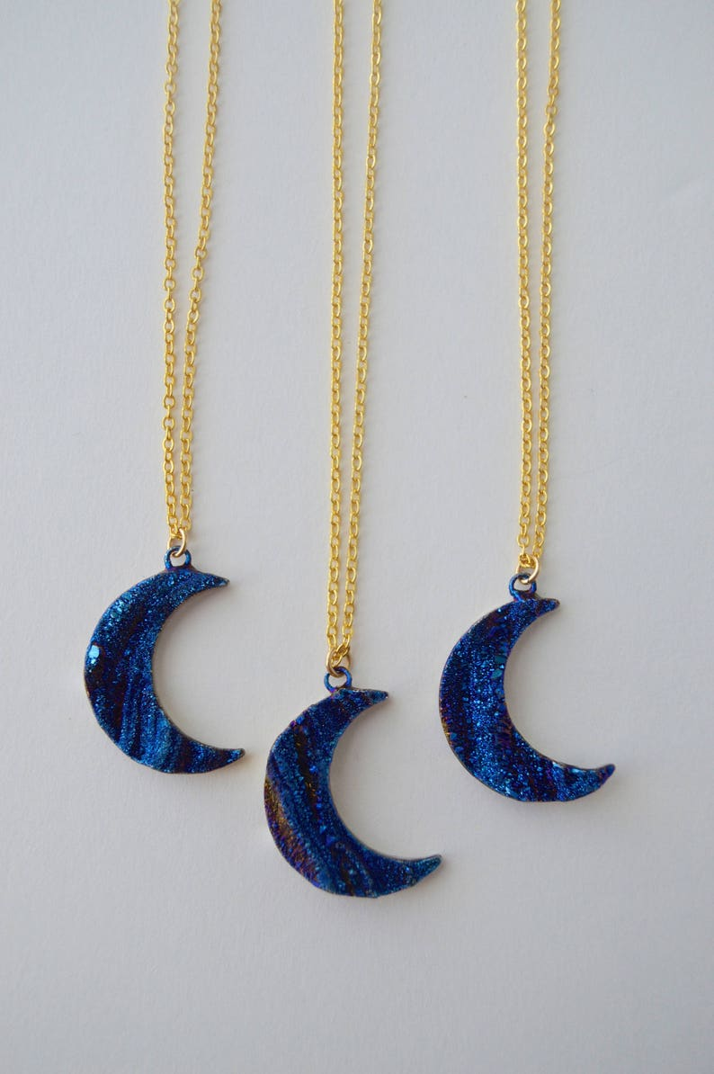 Titatnium Druzy Crescent Moon Necklace image 0