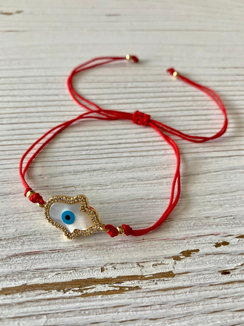 Hamsa Pearl Adjustable String Bracelet image 0