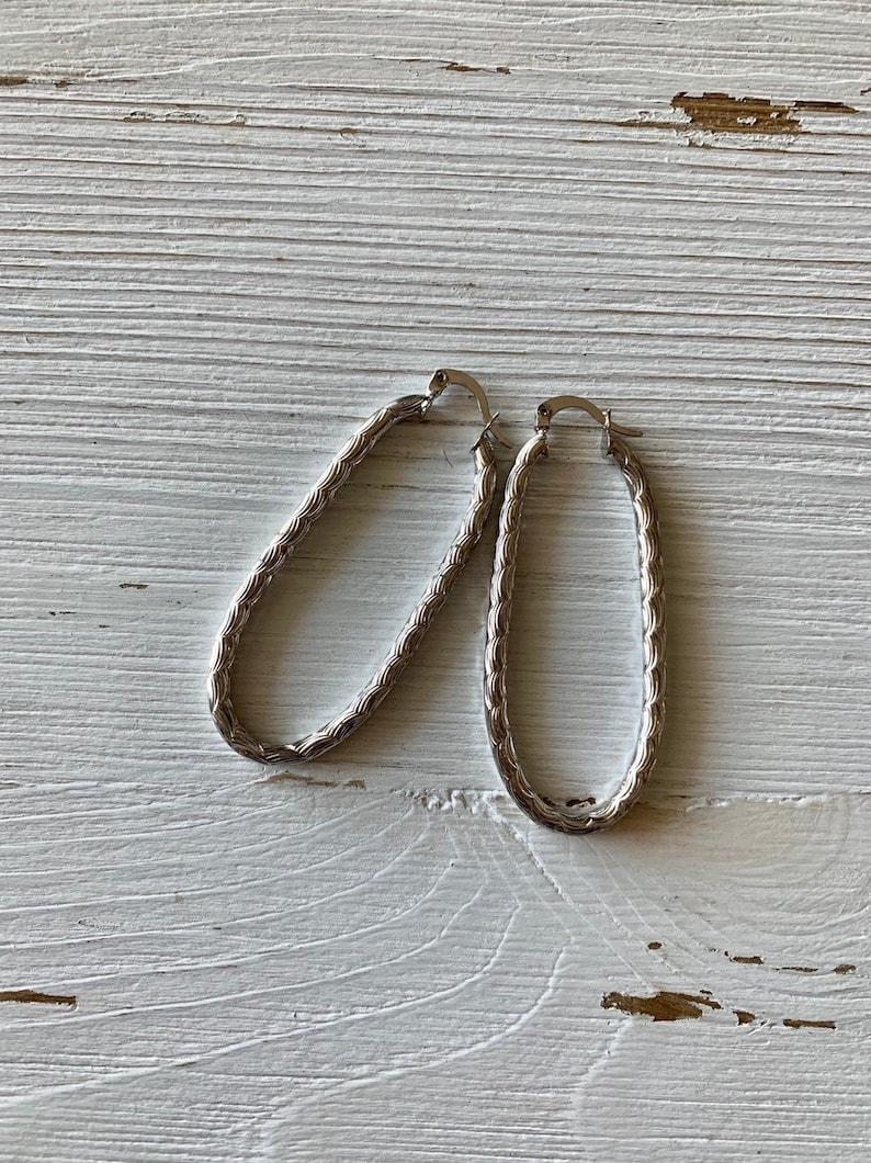 Wavy Hoop Earrings  Silver Plated image 0
