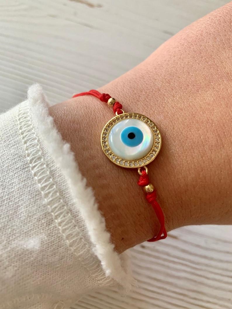 Evil Eye Adjustable String Bracelet image 0