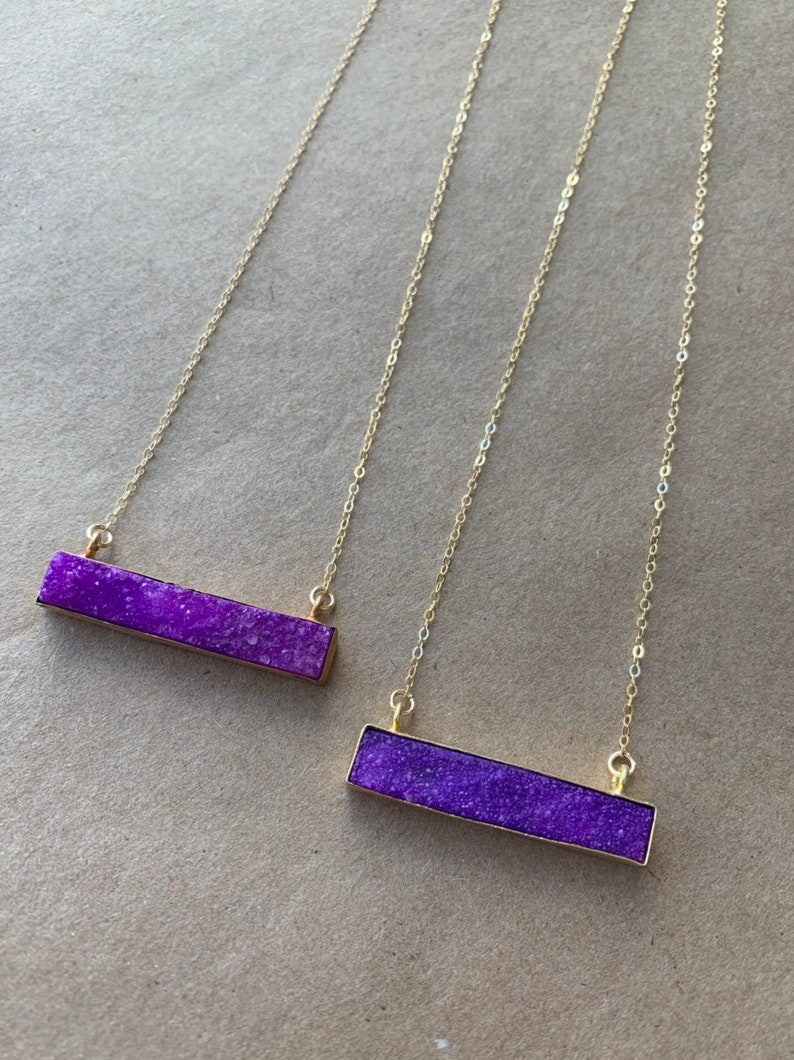 Purple Druzy Bar Necklace image 0