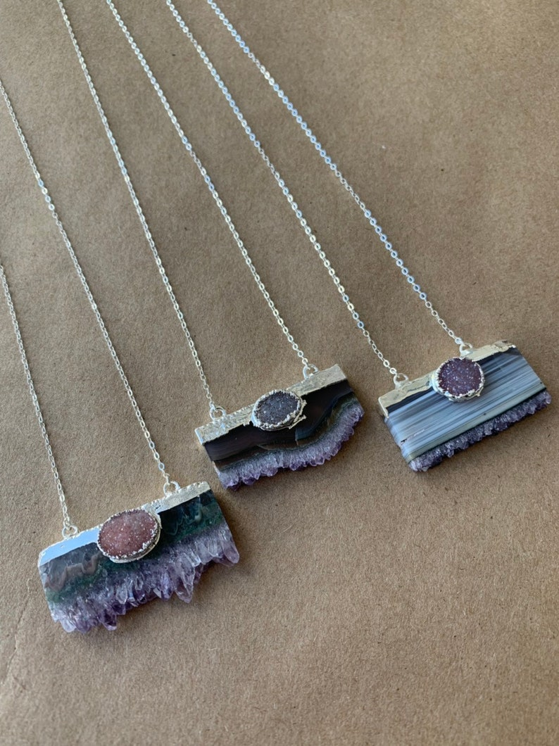 Amethyst and Druzy Necklace image 0