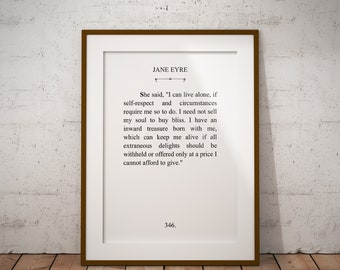 Jane Eyre, Literature Digital Printable - Typography - 8x10  11x14 Wall Art Print - Instant Download