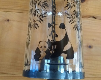 Kraken Rum Bottle Wind Chime with Black Decal of a Panda Bear & Baby fused into Glass, Windchimes, Garden Art, Gift, Handcrafted, Recycled