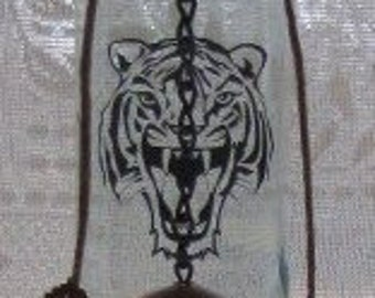 171a774fda8 Lion Head Black Silhouette Wine Bottle Wind Chime decal fused into glass  FREE SHIPPING