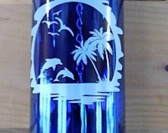 Wine Bottle Wind Chime Cobalt Blue Bottle with Dolphins, Seascape, Birds and Water Fused On White Decal,