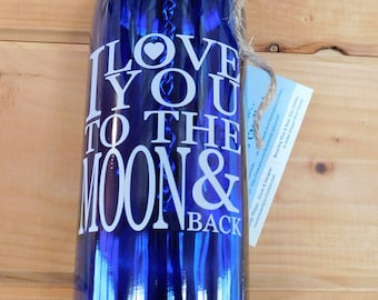 Cobalt Blue Wine Bottle Wind Chime I Love You To The Moon & Back White Decal fused on Glass,