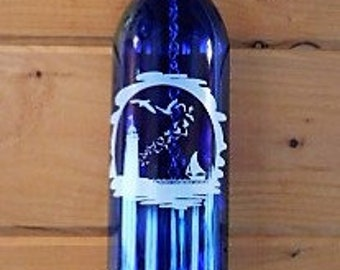 Cobalt Blue Wine Bottle Wind Chime with Fused on White Decal of Lighthouse, Seagulls, and Sailboat, Garden Art,