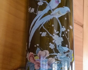 Green Wine Bottle Wind Chime, Windchime with a Beautiful Fused in Glass Decal of Oriental Birds, Decorative Soldering, Garden Art, Gift