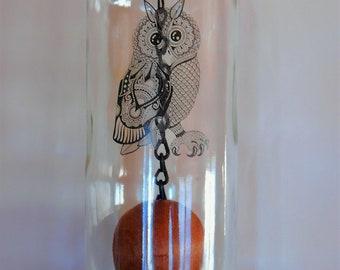 Clear Wine Bottle Windchime, Wind Chime of a Black Decal of Barn/Hoot Owl fused on Glass, Garden Art