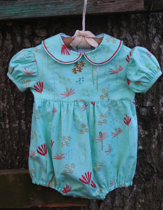 4ed70a86f1a8 Aqua Floral Print Bubble Romper-Hand Embroidered Baby Girl
