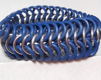 Bracelet - Blue and Silver European Stretch Bracelet