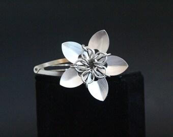 Silver Hair Flower Barrette