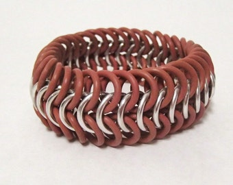 Braclet - Red and Silver European Stretch Bracelet