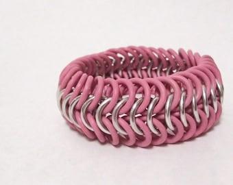 Braclet - Pink and Silver European Stretch Bracelet