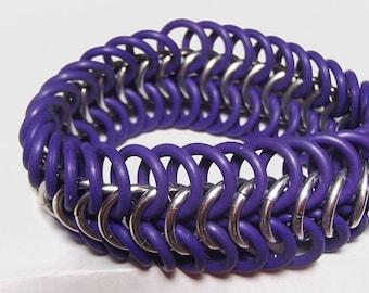 Braclet - Purple and Silver European Stretch Bracelet