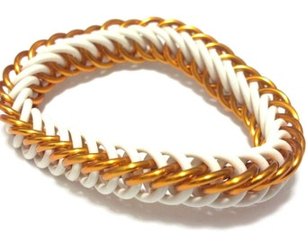 Orange and White Stretch Bracelet