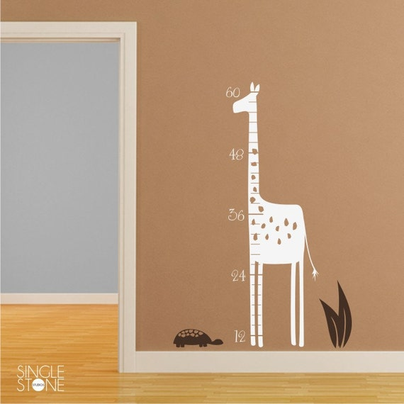 Nursery Giraffe Growth Chart Wall Decals Kids Nursery Wall Etsy
