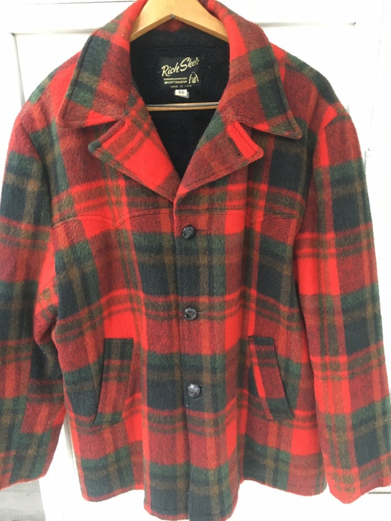 Vintage Classic Red Black Plaid Wool Lined Rich Sh