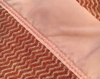 1 Vintage Wool Blanket Chevron-like Pattern light pink, burnt sienna orange, off-white ~ FLAWLESS, Light Use.  QUALITY! (2 total)