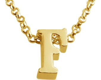 Initial Letter F Personalized Letters Serif Font Charm Pendant Necklace #14K Gold Plated over 925 Sterling Silver #Azaggi N0597G_F