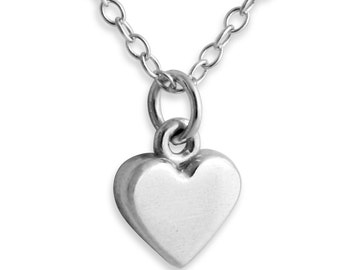 Solid 3D Heart Love Symbol Romantic Sweetheart Valentine's Jewelry Charm Pendant Necklace #925 Sterling Silver #Azaggi N0160S