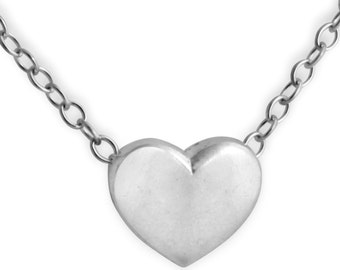 Solid Heart Romantic Love Charm Pendant Necklace #925 Sterling Silver #Azaggi N0459S