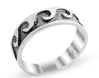 Hawaiian Waves Adjustable Knuckle Midi Mid Finger or Toe Ring Boho Style Accessory #925 Sterling Silver #Azaggi R0315S