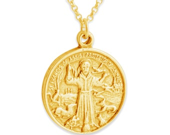 St francis jewelry etsy st francis of assisi pendant necklace 14k gold plated over 925 sterling silver azaggi n0250g aloadofball Choice Image