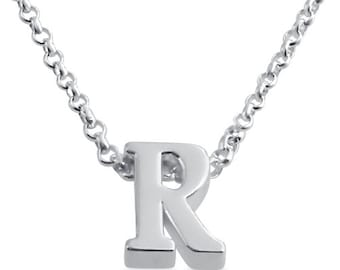 Initial Letter R Personalized Letters Serif Font Charm Pendant Necklace #925 Sterling Silver #Azaggi N0597S_R
