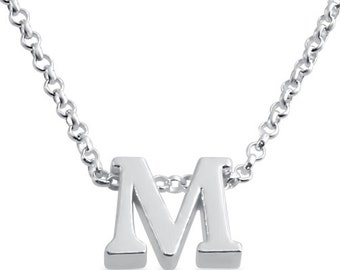Initial Letter M Personalized Letters Serif Font Charm Pendant Necklace #925 Sterling Silver #Azaggi N0597S_M