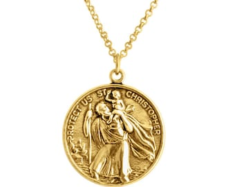 St christopher etsy st christopher protector of travelers medallion pendant necklace 14k gold plated over 925 sterling silver azaggi n0630g aloadofball Choice Image
