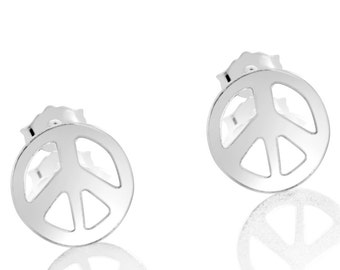 Peace Sign Hippie Symbol Stud Earrings #925 Sterling Silver #Azaggi E0716S
