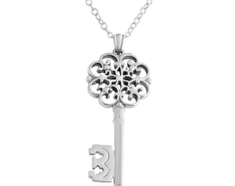 1569512d2 Openwork Filigree Key of My Heart Symbol of Love & Success Vintage Style  Romantic Charm Pendant Necklace #925 Sterling Silver #Azaggi N0205S