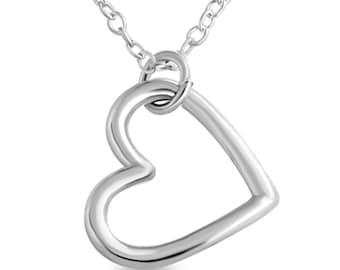 Big Open Sideways Hanging Heart Love Symbol Romantic Sweetheart Valentine's Charm Pendant Necklace #925 Sterling Silver #Azaggi N0163S