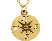 Big Sailor Compass Rose of the Winds Direction Nautical Charm Pendant Necklace 14K Gold Plated over 925 Sterling Silver Azaggi N0175G