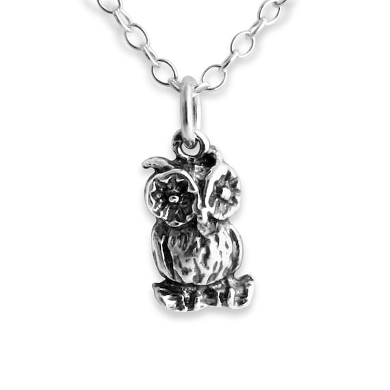 Wise Old Owl Night Bird Nocturnal Animal Symbol of Wisdom Native American Zodiac Charm Pendant Necklace #925 Sterling Silver #Azaggi N0378S