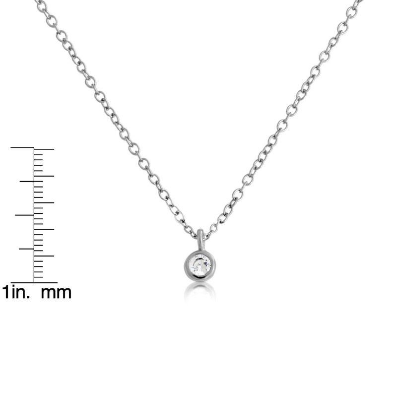 Clear Cubic Zirconia Stone Round CZ Gem Charm Pendant Necklace #925 Sterling Silver #Azaggi N0593S
