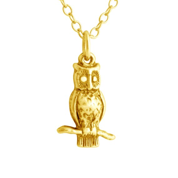 3D Tiny Owl Night Bird Nocturnal Animal Symbol of Wisdom Charm Pendant Necklace #14K Gold Plated over 925 Sterling Silver #Azaggi N0001G