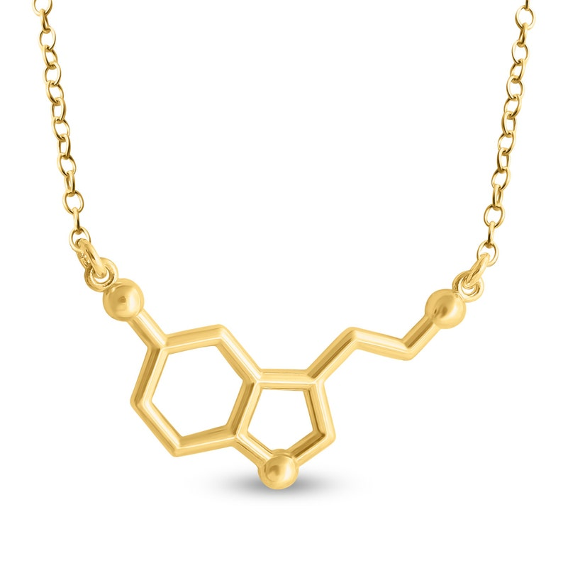 Serotonin Molecule Happy Hormone Chemical Structure Charm Pendant Necklace #14K Gold Plated over 925 Sterling Silver #Azaggi N0803G