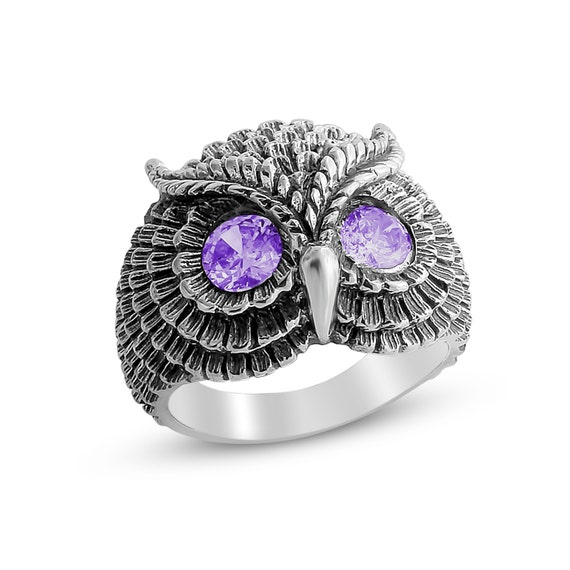Bohemian Owl with Purple Amethyst Stone Eyes Night Bird Nocturnal Animal Symbol of Wisdom Ring #925 Sterling Silver #Azaggi R0199S_purple