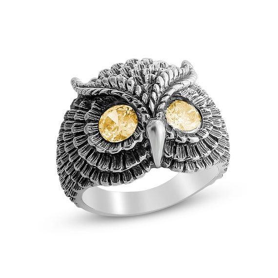 Bohemian Owl with Yellow Citrine Stone Eyes Night Bird Nocturnal Animal Symbol of Wisdom Ring #925 Sterling Silver #Azaggi R0199S_yellow