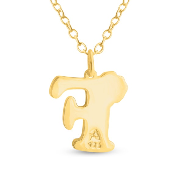 Azaggi Sterling Silver or 14K Gold Plated Silver Colored Initial Letter F with Flower Pendant